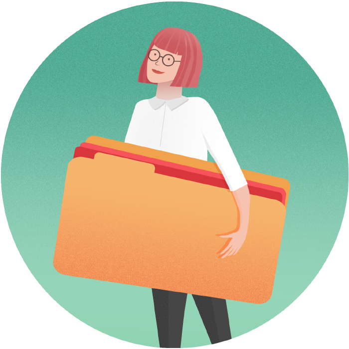 girl holding project folder illustration