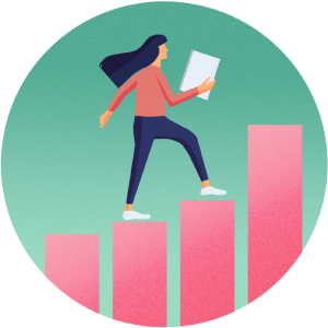 girl walking up bar chart illustration