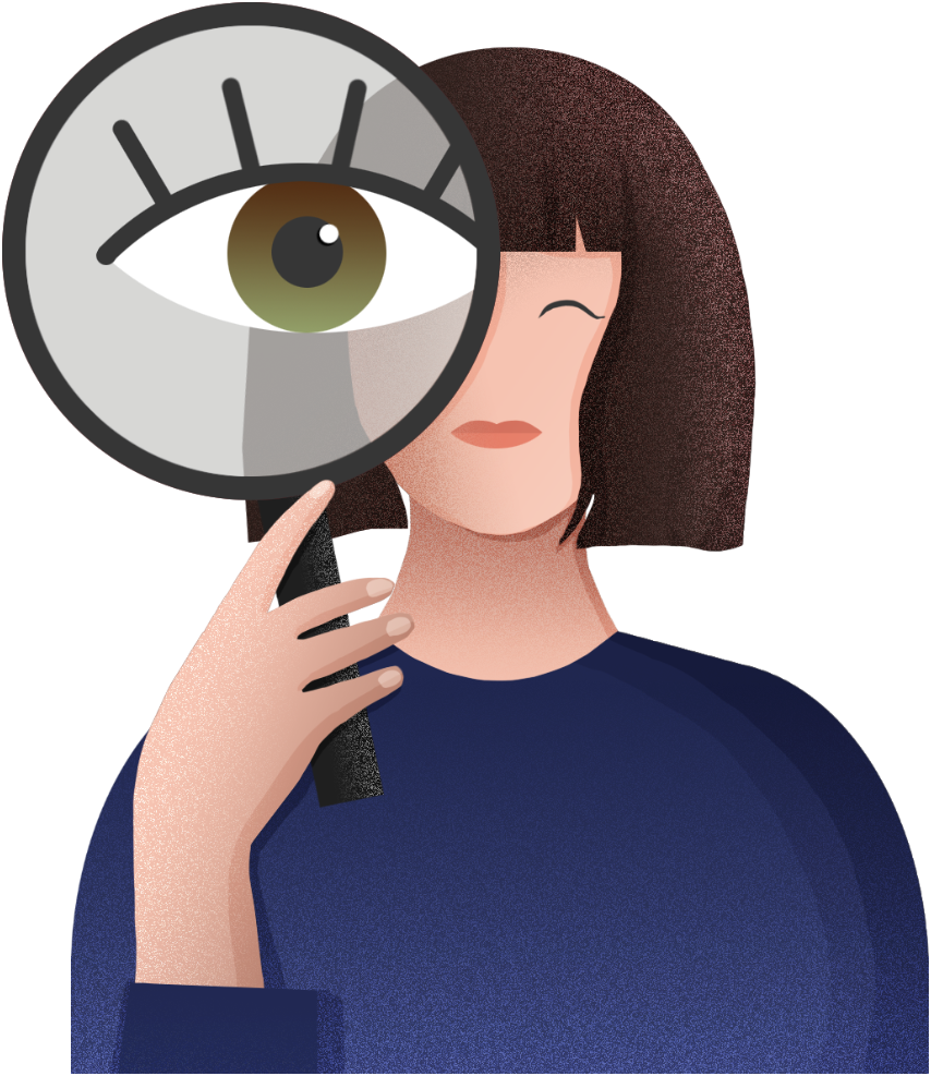 girl with magnifying glass illustration