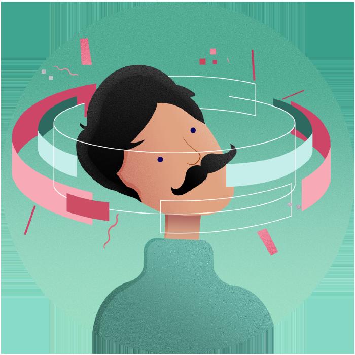 man with moustache illustration